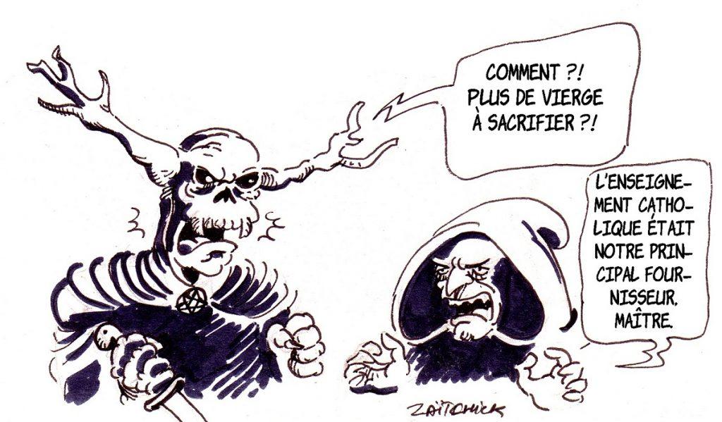 dessin d'actualité humoristique sur l'enseignement catholique