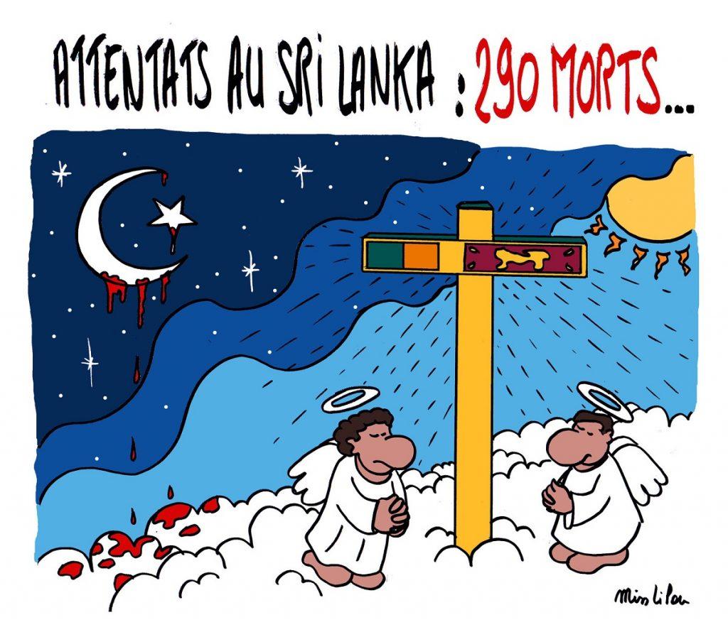 dessin d'actualité sur les attentats de Pâques au Sri Lanka