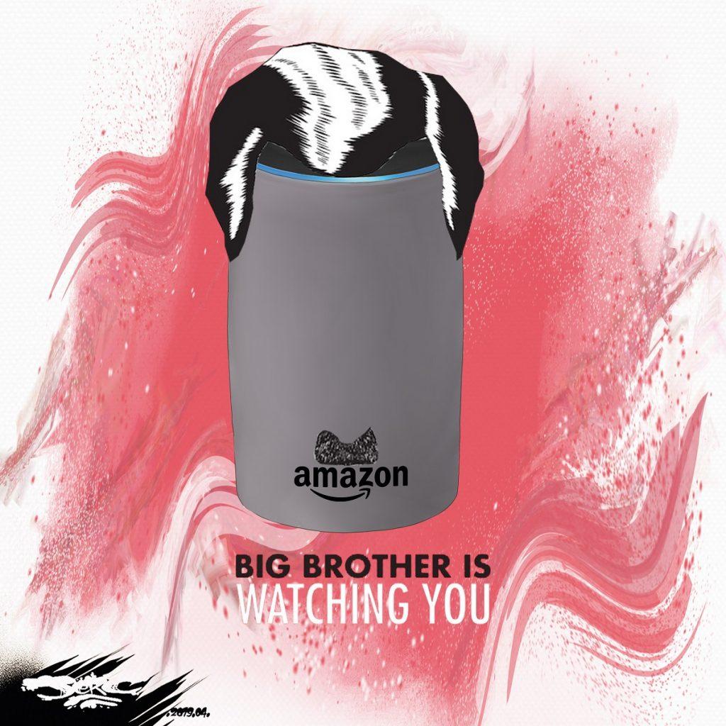 dessin d'actualité humoristique sur les enceintes intelligentes Echo d'Amazon et l'assistant vocal Alexa