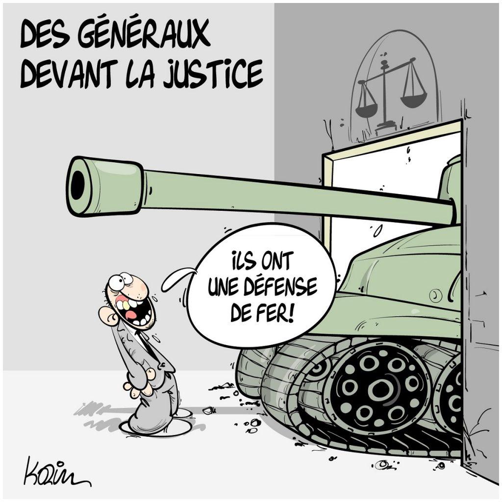 dessin d'actualité humoristique sur les généraux algériens devant la justice
