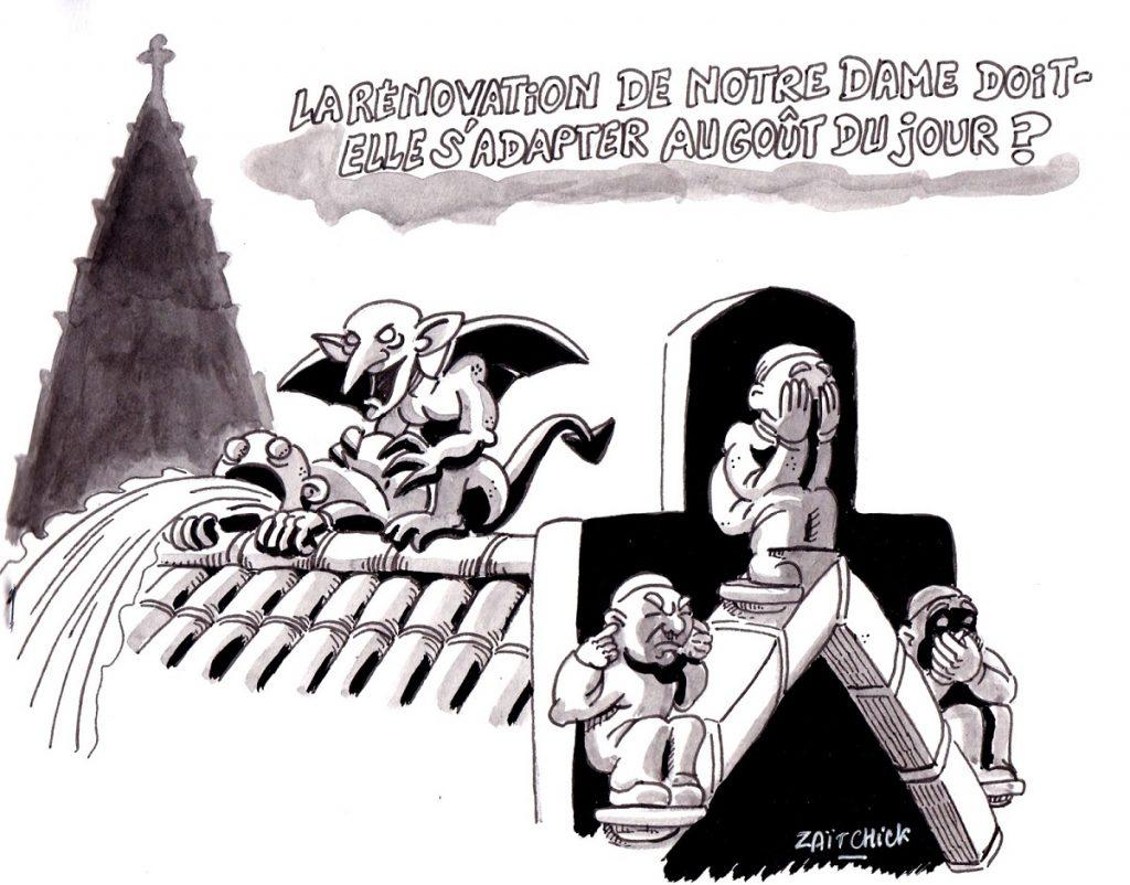 dessin d'actualité humoristique sur la reconstruction de Notre-Dame de Paris et les problème de pédophilie dans l'église
