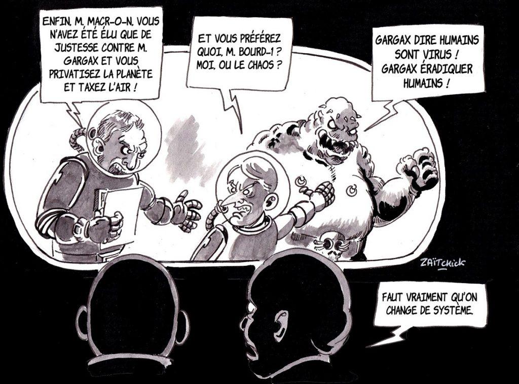 dessin d'actualité humoristique sur le futur et la politique