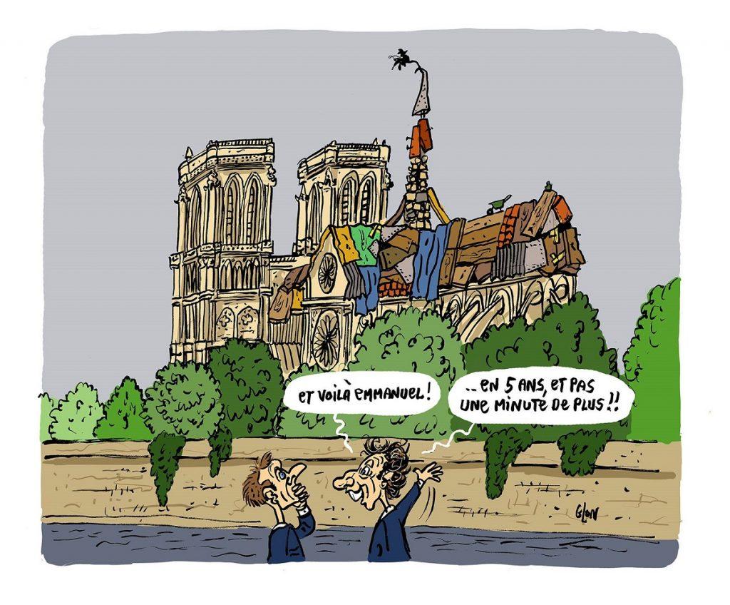 dessin d'actualité humoristique sur la reconstruction en 5 ans de Notre-Dame de Paris