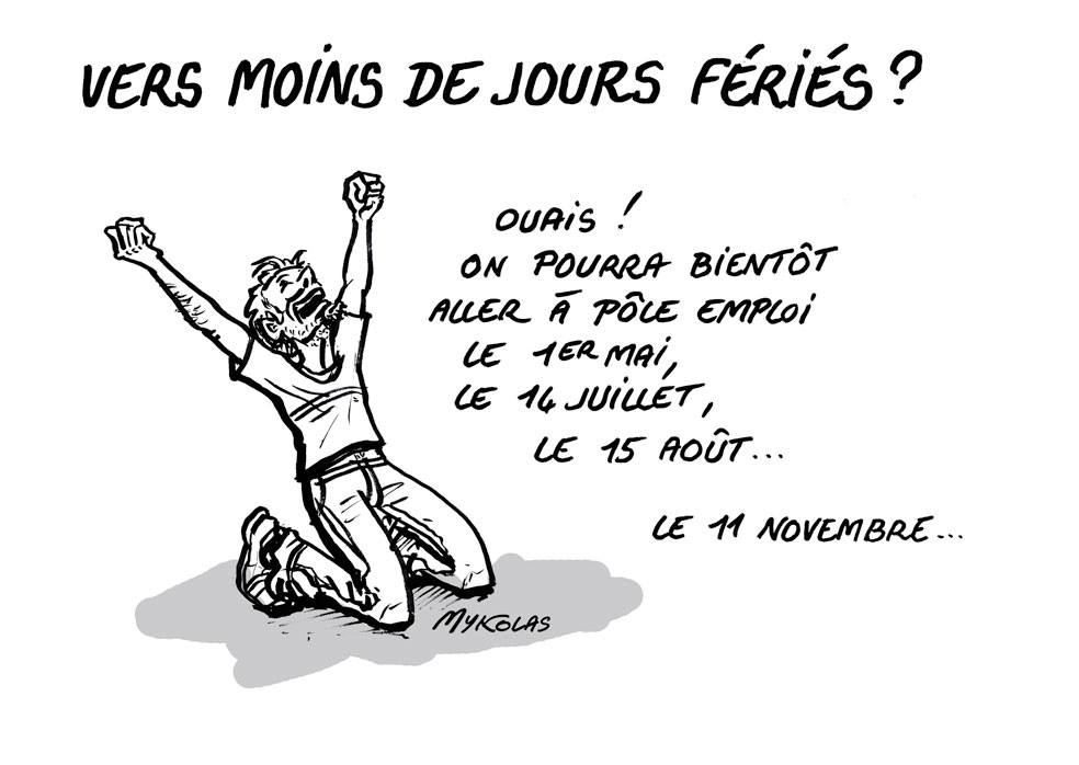 dessin d'actualité humoristique sur la proposition d'Emmanuel Macron de supprimer un deuxième jour férié