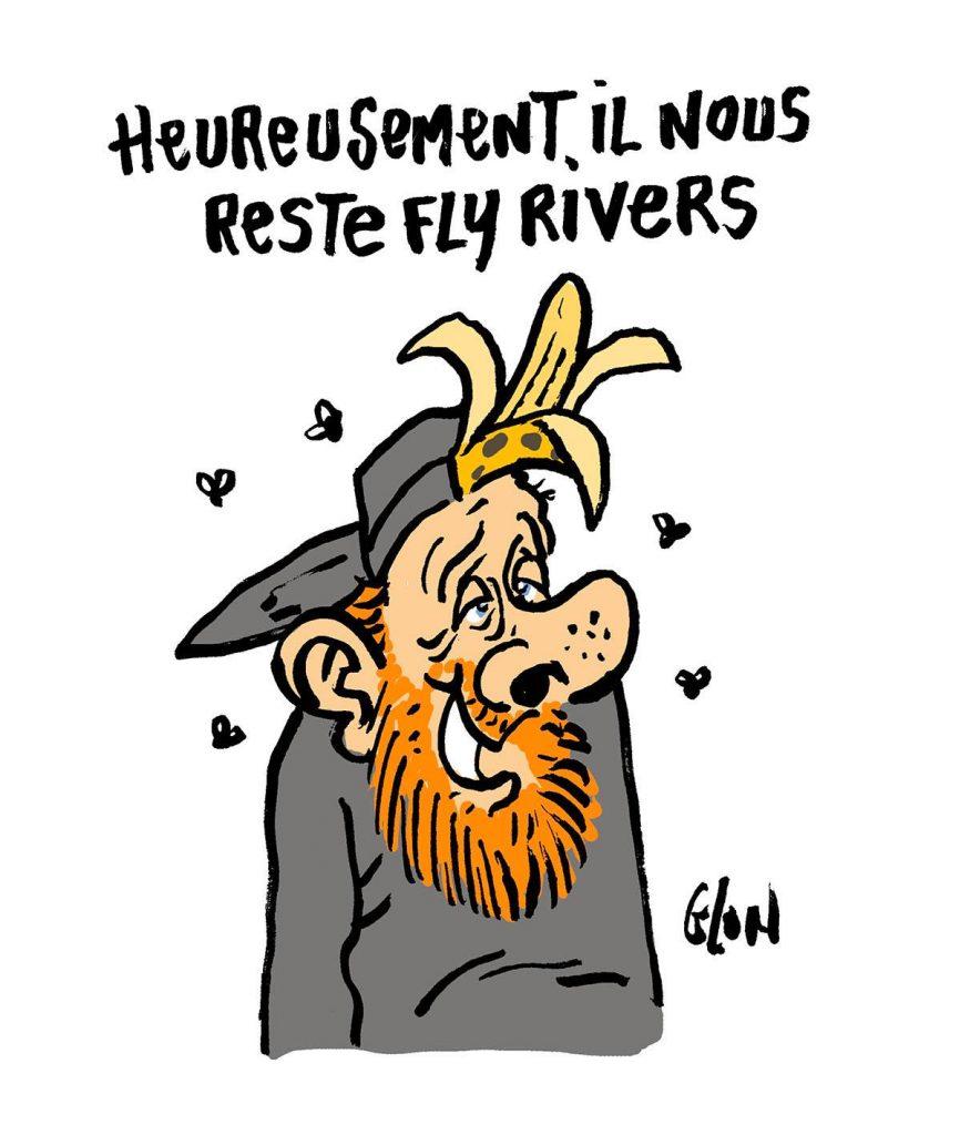 dessin d'actualité humoristique sur la mort de Dick Rivers et Maxime Nicolle
