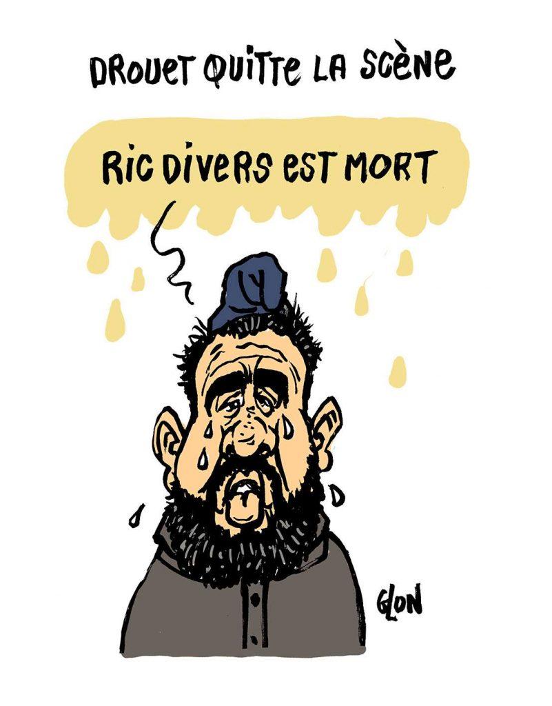 dessin d'actualité humoristique sur la mort de Dick Rivers et la pause d'Éric Drouet