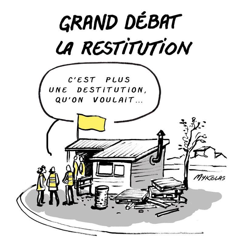 dessin d'actualité humoristique sur la restitution du Grand Débat National
