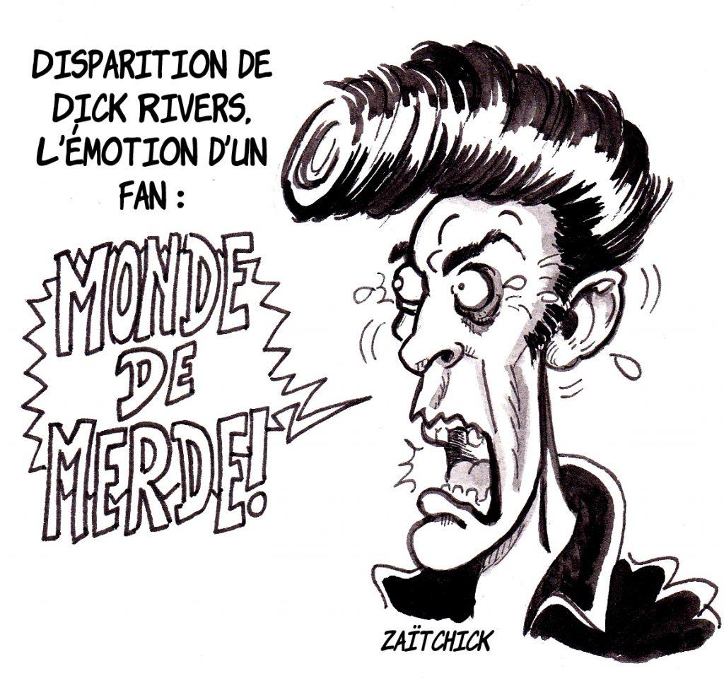 dessin d'actualité humoristique sur la mort de Dick Rivers et l'émotion de Didier l'Embrouille