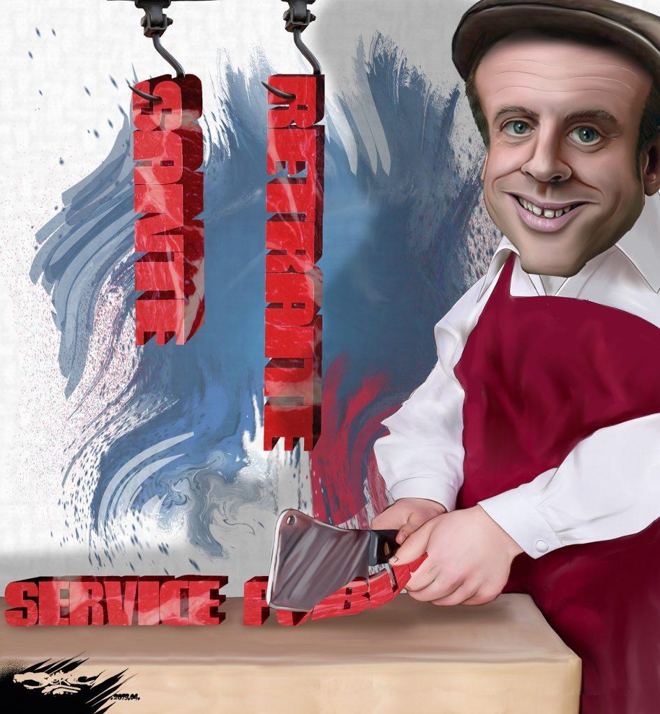 dessin d'actualité humoristique sur l'annonce des mesures d'Emmanuel Macron lors de son discours du 25 avril 2019
