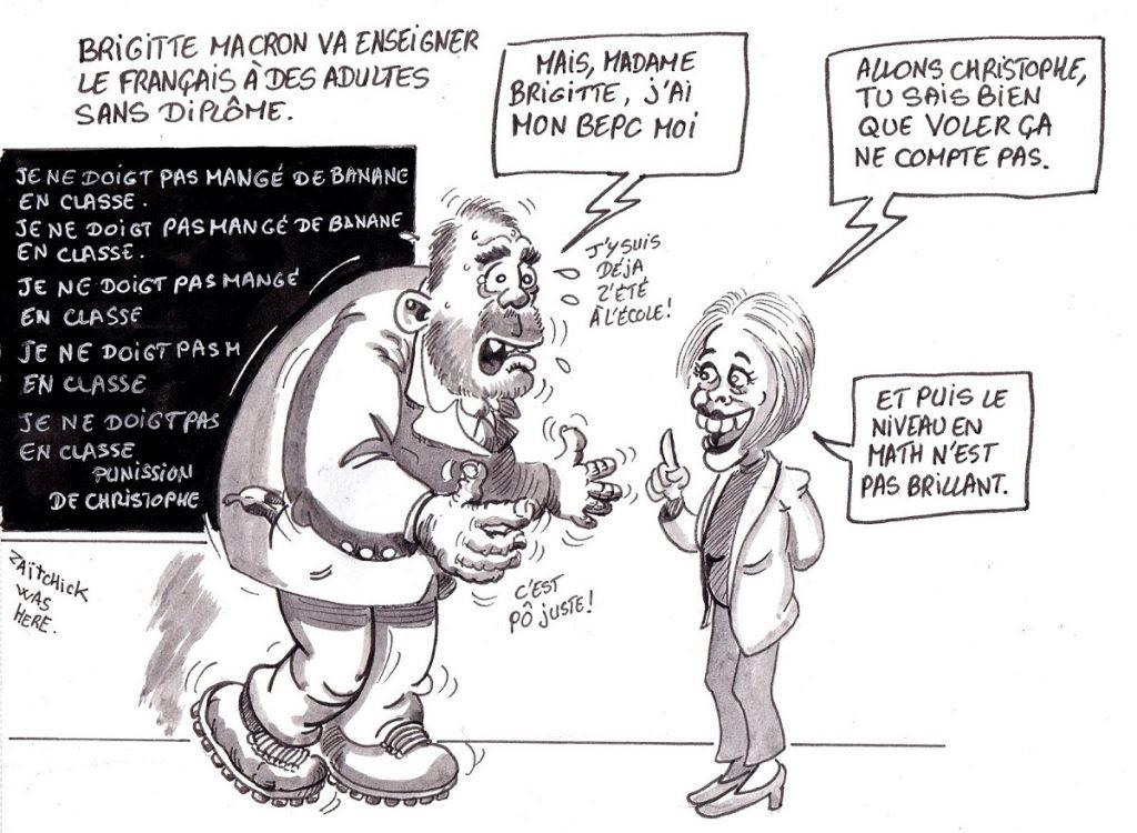 dessin d'actualité humoristique sur le retour à l'enseignement de Brigitte Macron