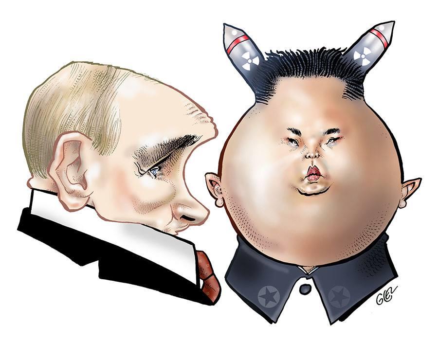 dessin humoristique sur la rencontre entre Vladimir Poutine et Kim Jong-un à Vladivostok