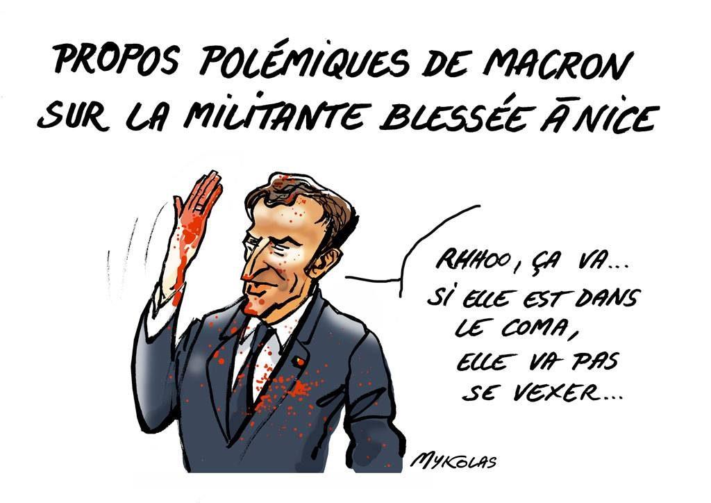 dessin d'actualité humoristique sur la réaction d'Emmanuel Macron sur la manifestante de 73 ans blessée à Nice