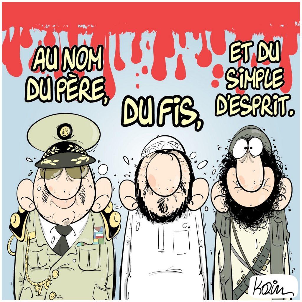dessin d'actualité humoristique sur le sang versé en Algérie