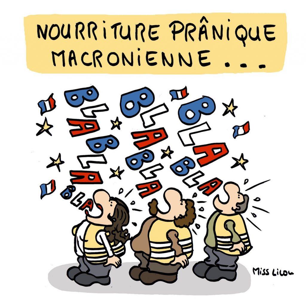 dessin d'actualité humoristique sur l'allocution du Président Macron du 25 avril 2019