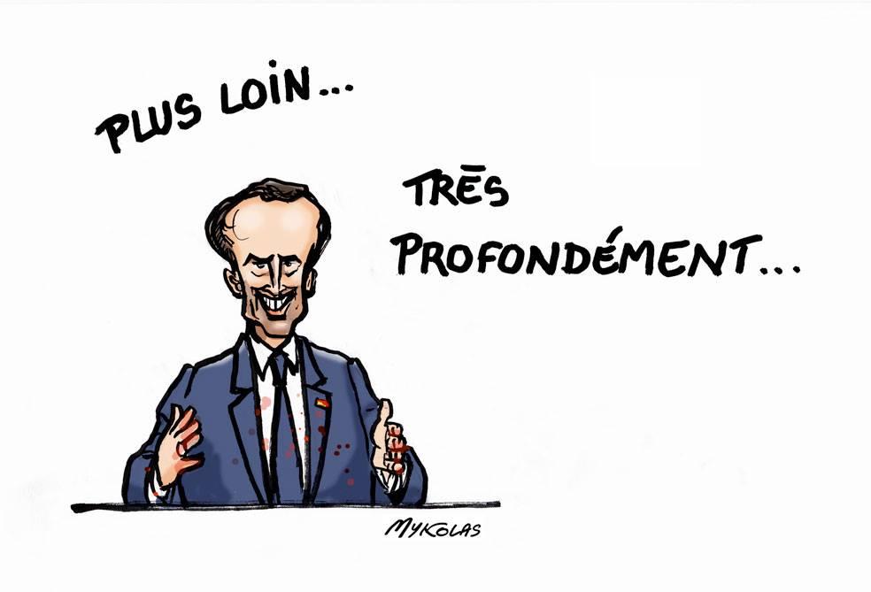 dessin d'actualité humoristique sur l'allocution télévisée d'Emmanuel Macron suite au Grand Débat National