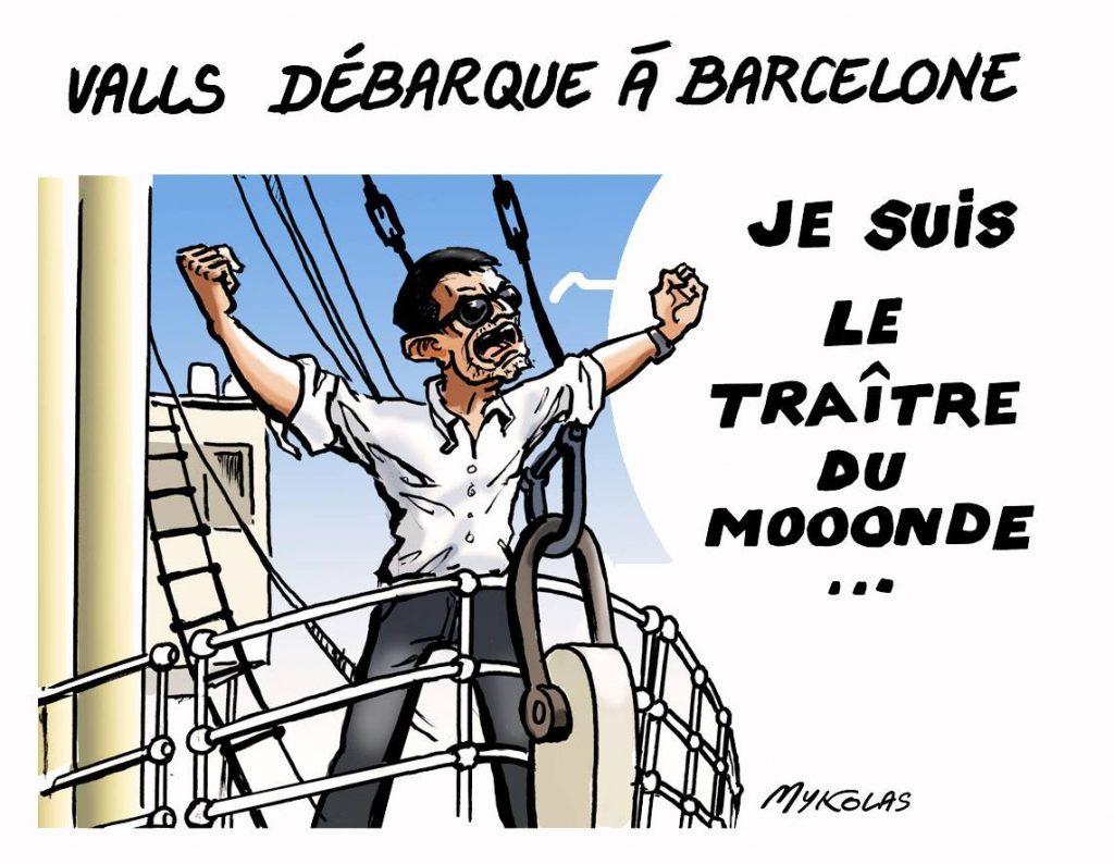 dessin d'actualité humoristique sur l'arrivée de Manuel Valls à Barcelone