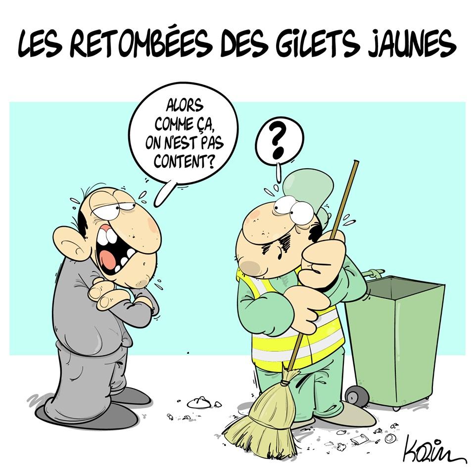 dessin d'actualité humoristique sur les conséquences du mouvement des gilets jaunes en Algérie