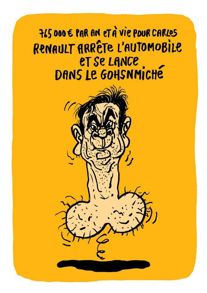 dessin d'actualité humoristique sur la retraite exorbitante de Carlos Ghosn
