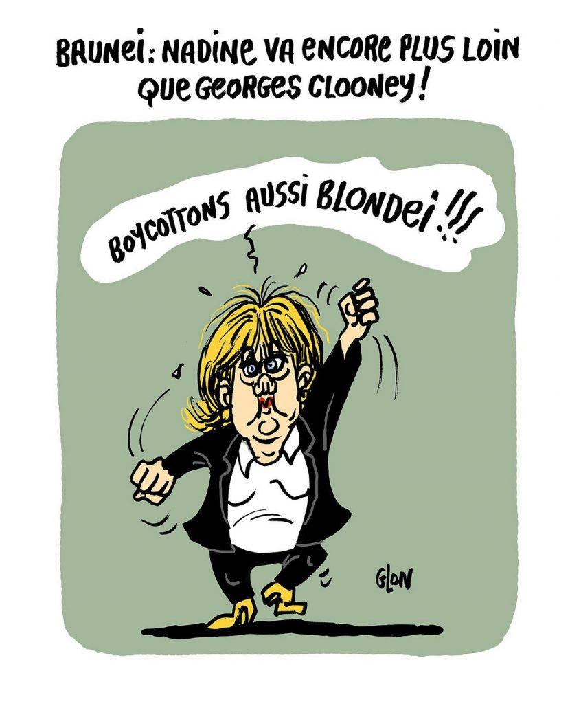 dessin d'actualité humoristique sur Nadine Morano et l'application de la charia dans le sultanat de Brunei