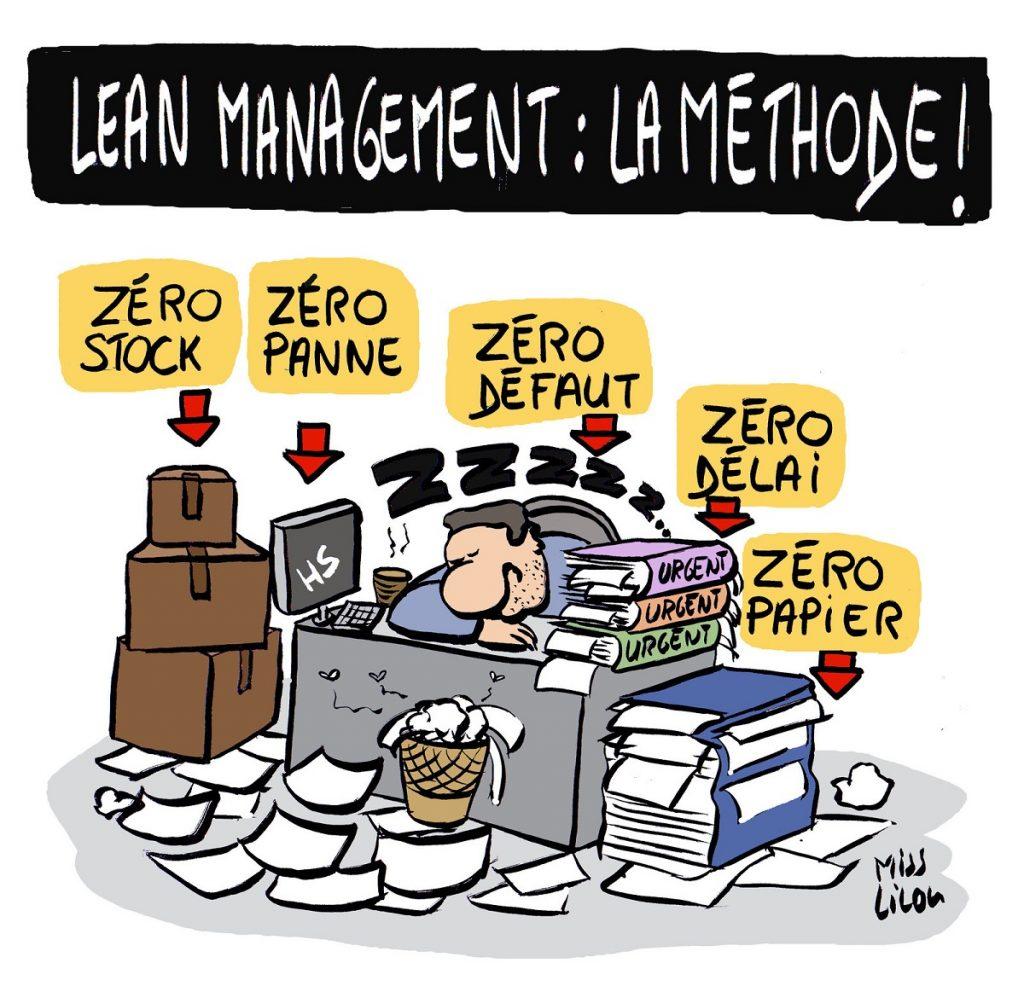 dessin d'actualité humoristique sur la méthode de lean management