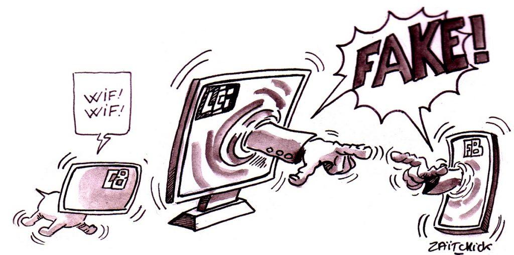 dessin d'actualité humoristique sur la multiplication des Fake News