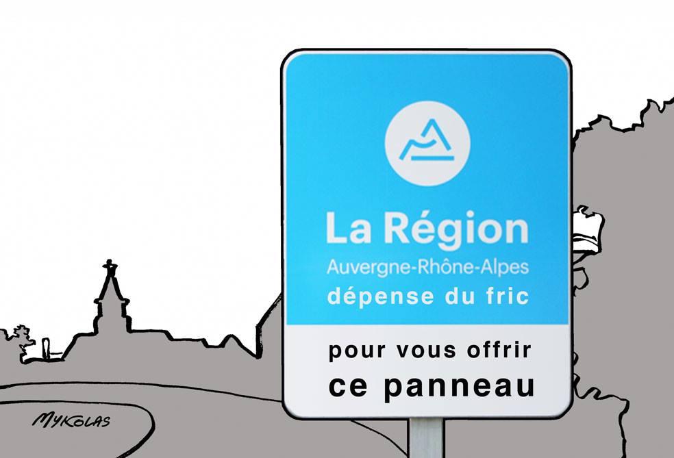 dessin d'actualité humoristique sur les dépenses de la Région Auvergne-Rhône-Alpes décidées par Laurent Wauquiez