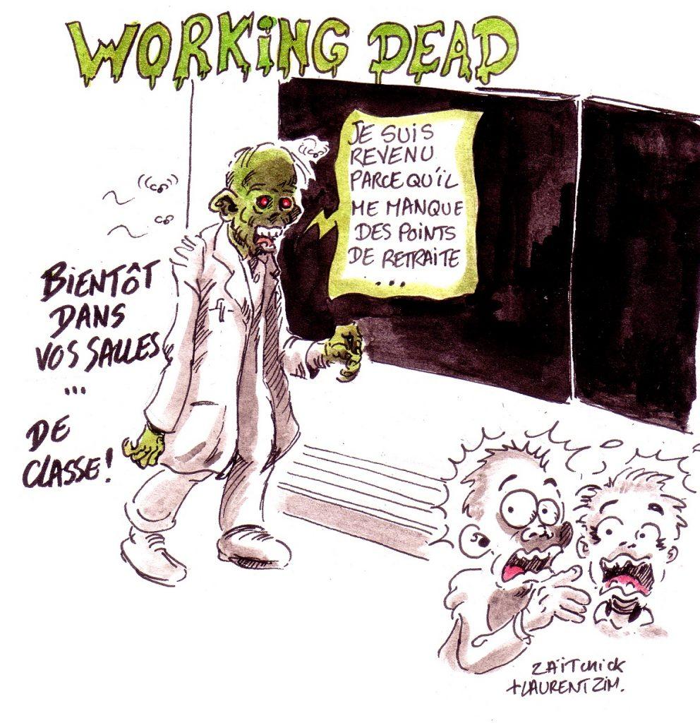 dessin d'actualité humoristique sur les points de retraite à l'Éducation Nationale : The Working Dead