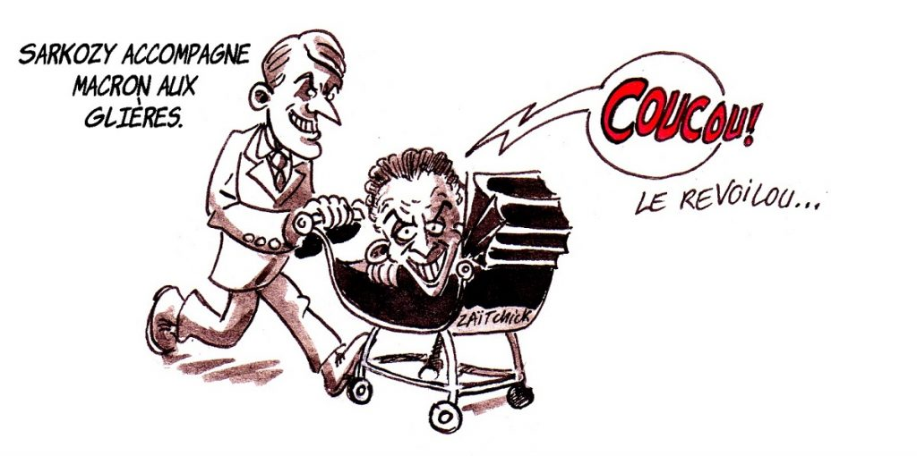 dessin d'actualité humoristique sur la visite de Nicolas Sarkozy et Emmanuel Macron sur le plateau des Glières