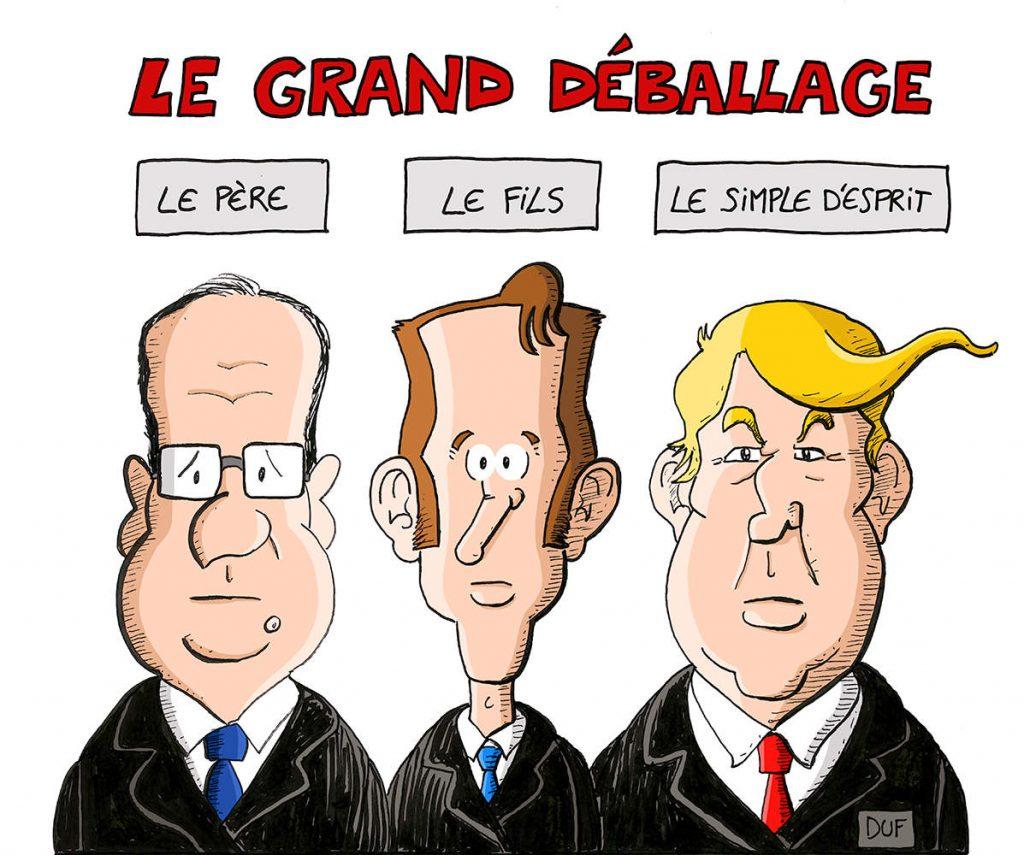 dessin d'actualité humoristique sur la sainte trinité du grand débat d'Emmanuel Macron