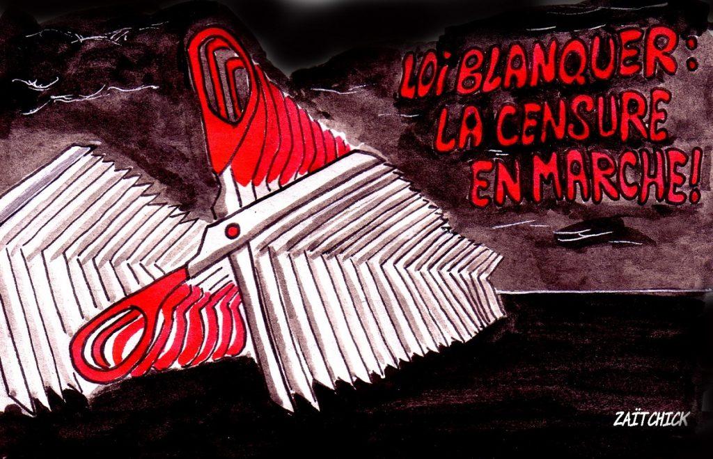 dessin d'actualité humoristique sur la censure imposée par la loi Blanquer