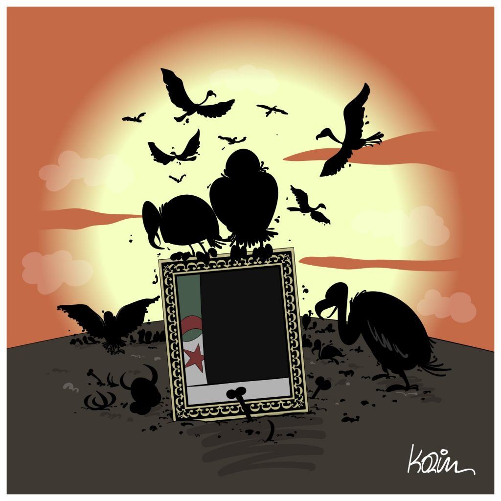 dessin d'actualité humoristique sur la fin de règne du pouvoir algérien