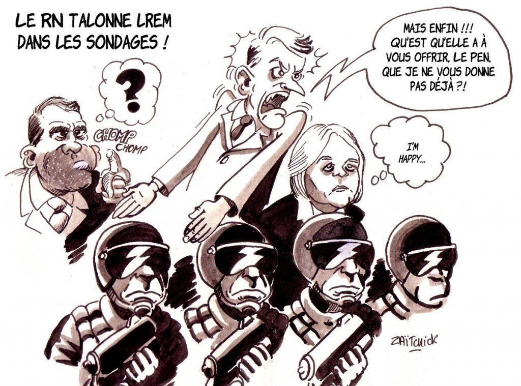 dessin d'actualité humoristique sur les sondages pour les élections européennes montrant le RN talonnant LREM