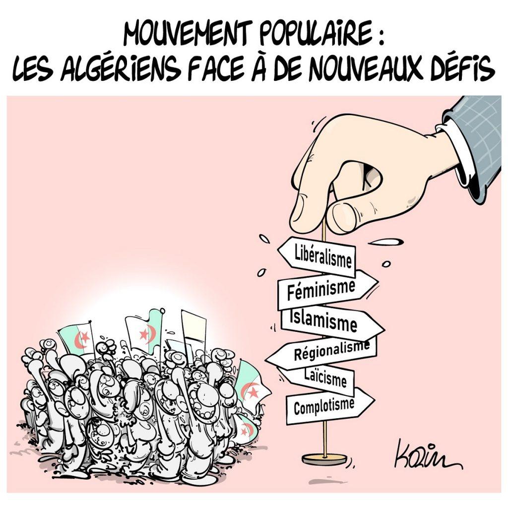 dessin d'actualité humoristique sur les nouveaux défis du mouvement populaire algérien