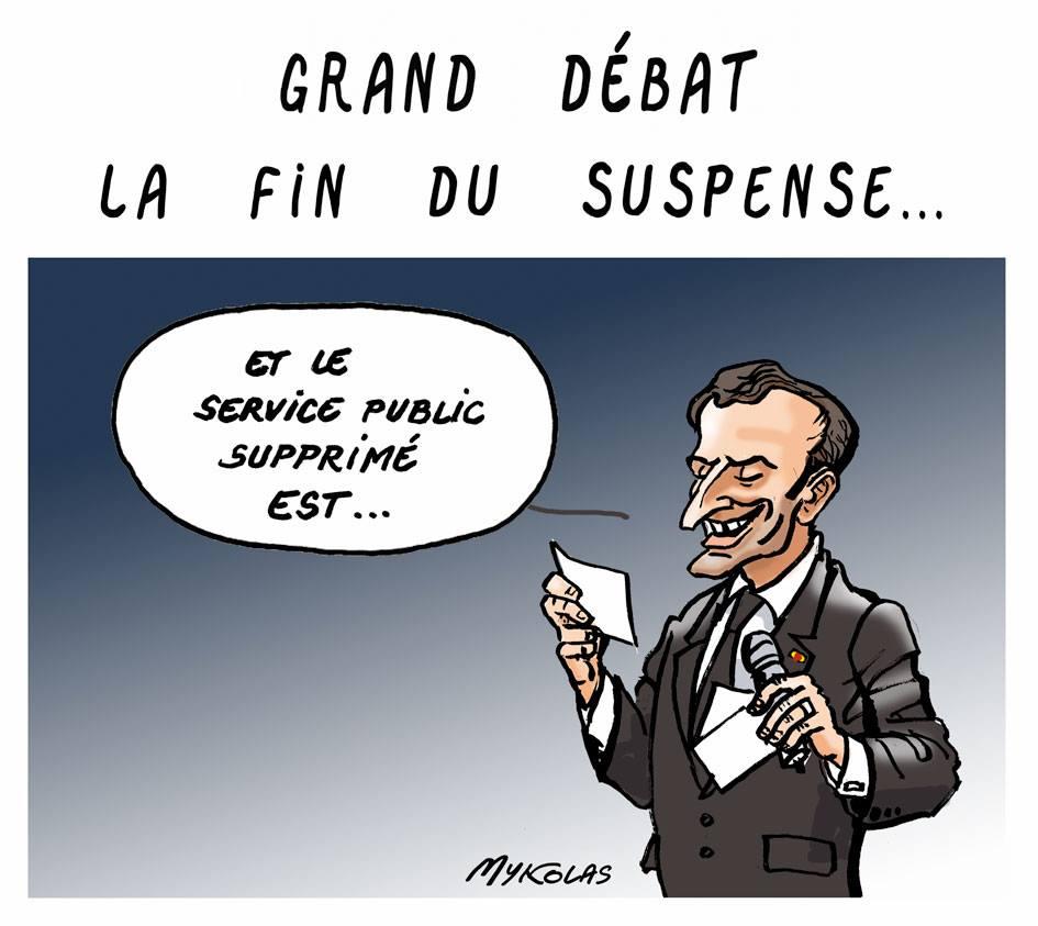dessin d'actualité humoristique sur la fin du grand débat national