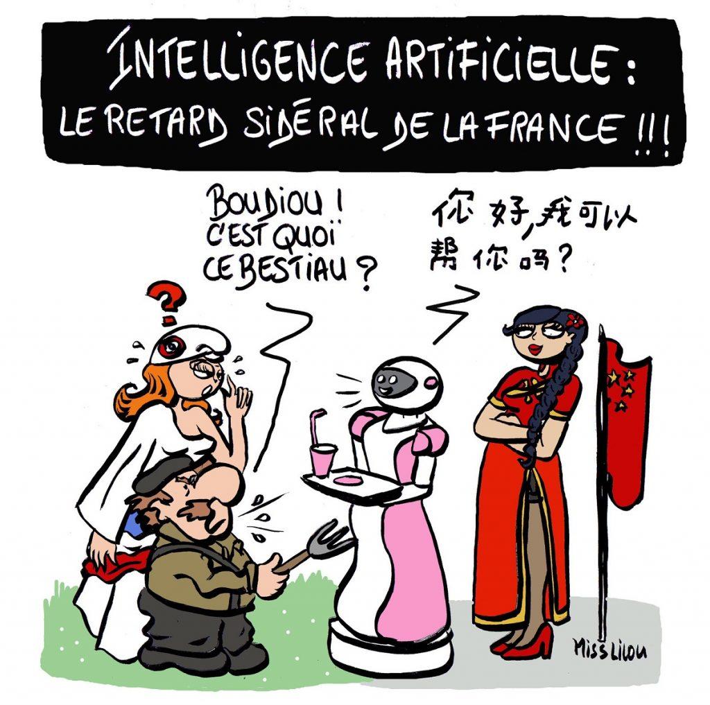 dessin d'actualité humoristique sur le retard de la France dans le domaine de l'intelligence artificielle