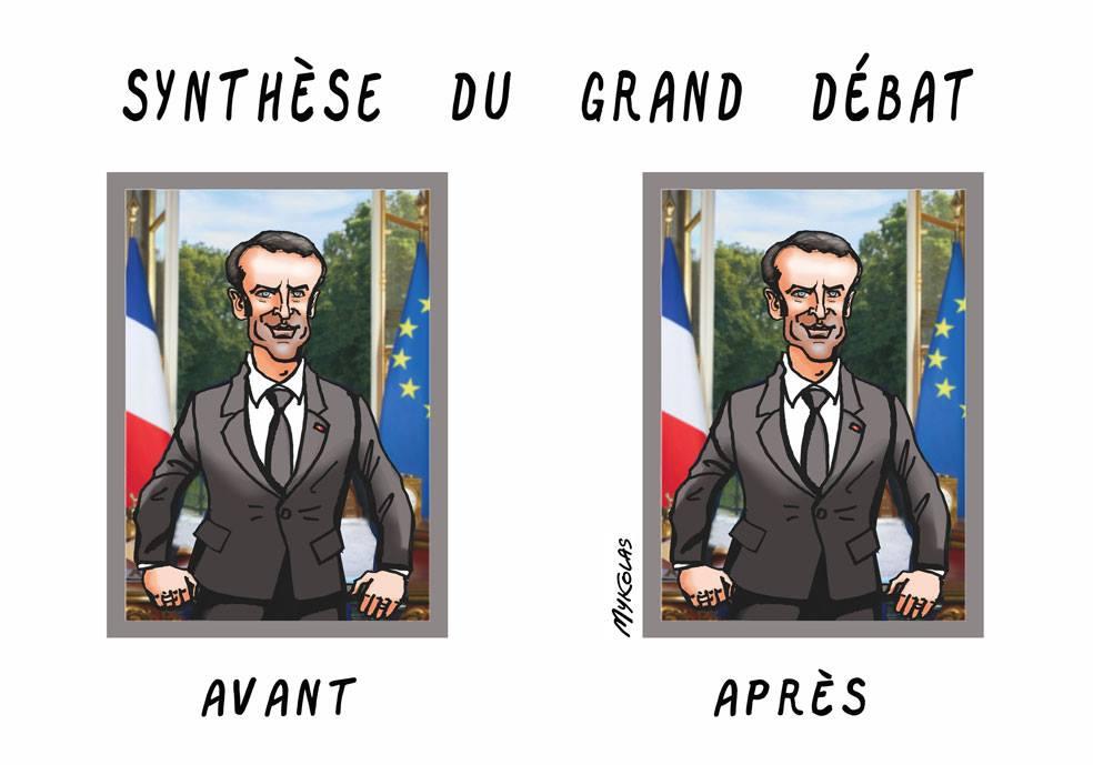 dessin d'actualité humoristique sur la synthèse du grand débat national