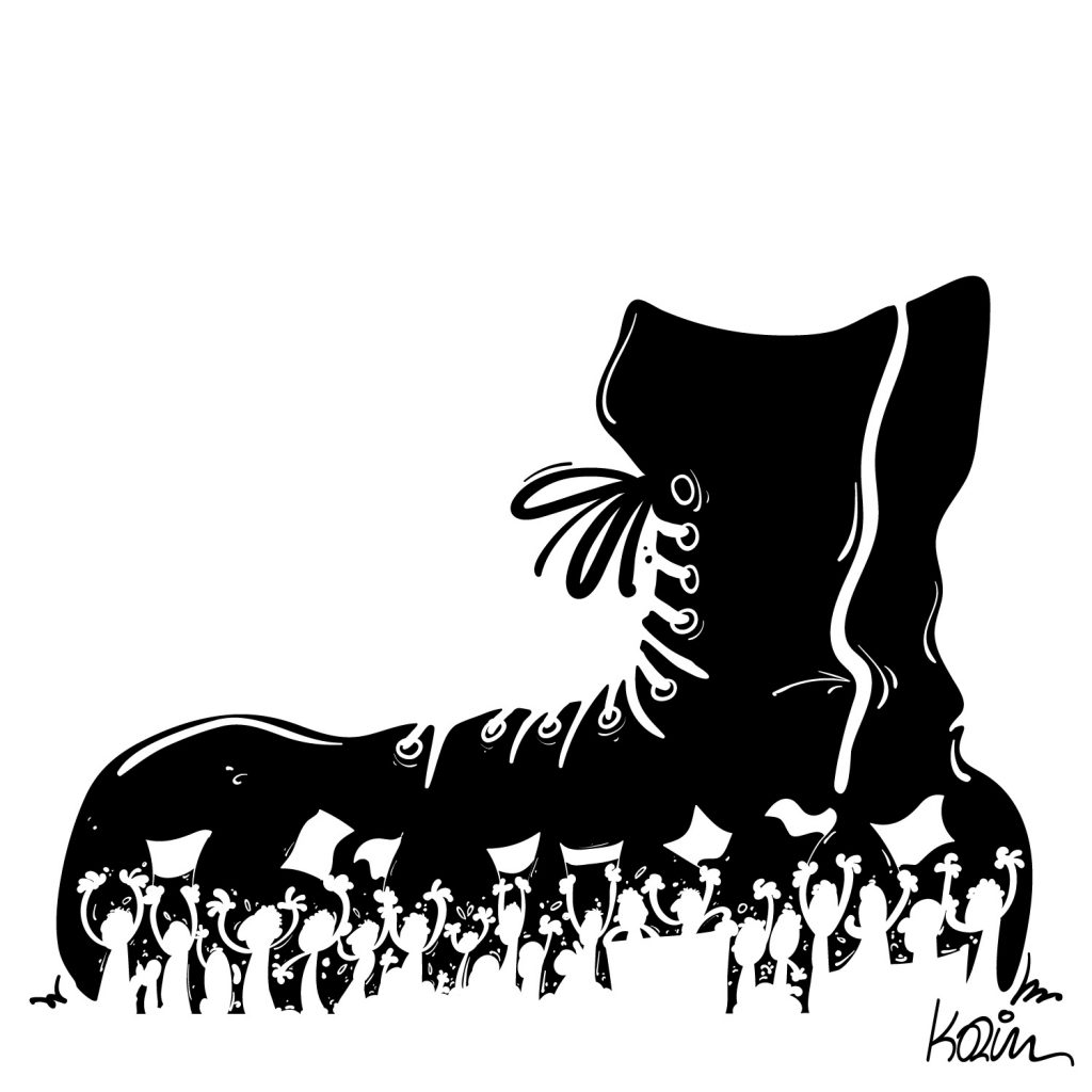 dessin d'actualité humoristique sur la répression du mouvement populaire en Algérie