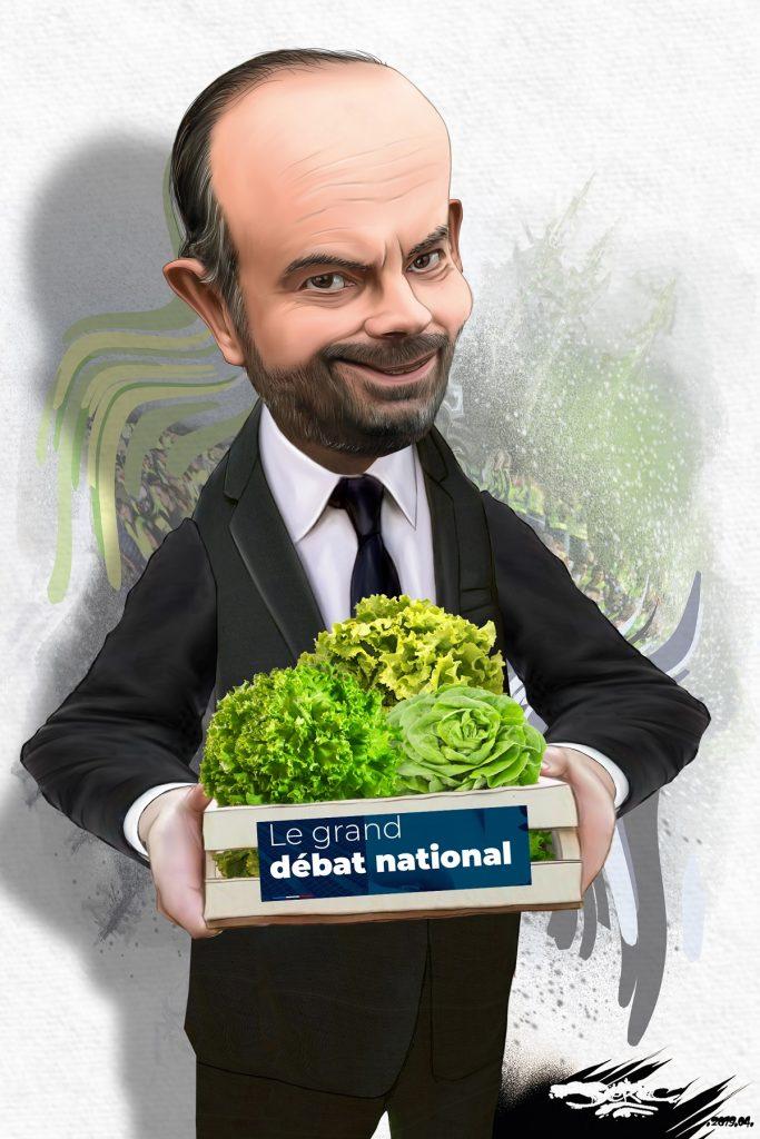 dessin d'actualité humoristique sur Édouard Philippe et les salades du Grand Débat National