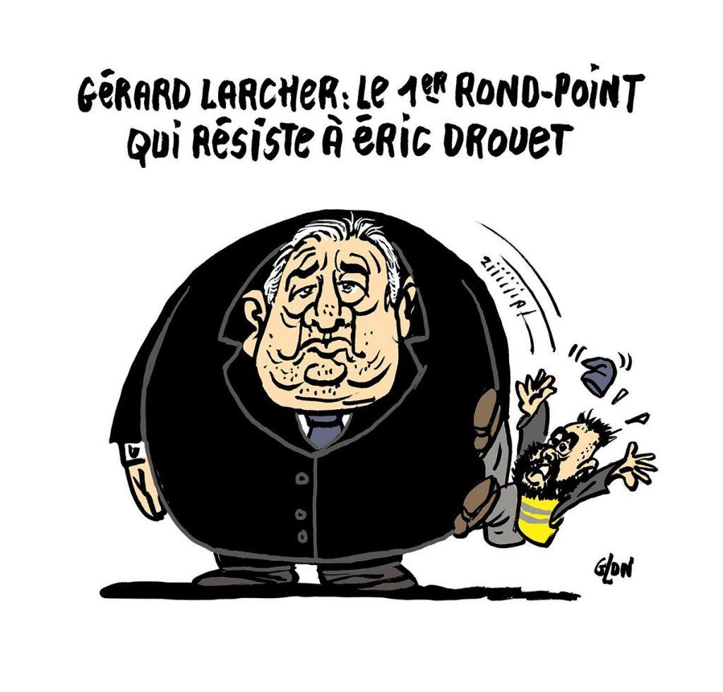 dessin d'actualité humoristique sur l'annulation de la rencontre au Sénat d'Éric Drouet