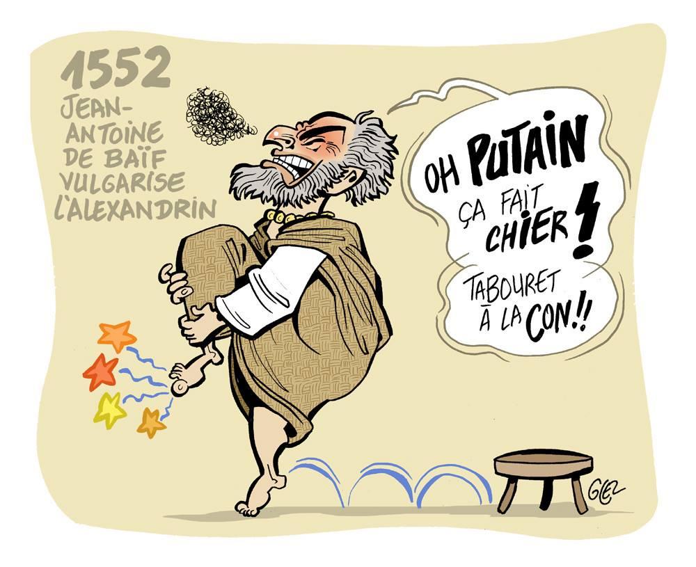 dessin humoristique sur la poésie en alexandrin de Jean-Antoine de Baïf