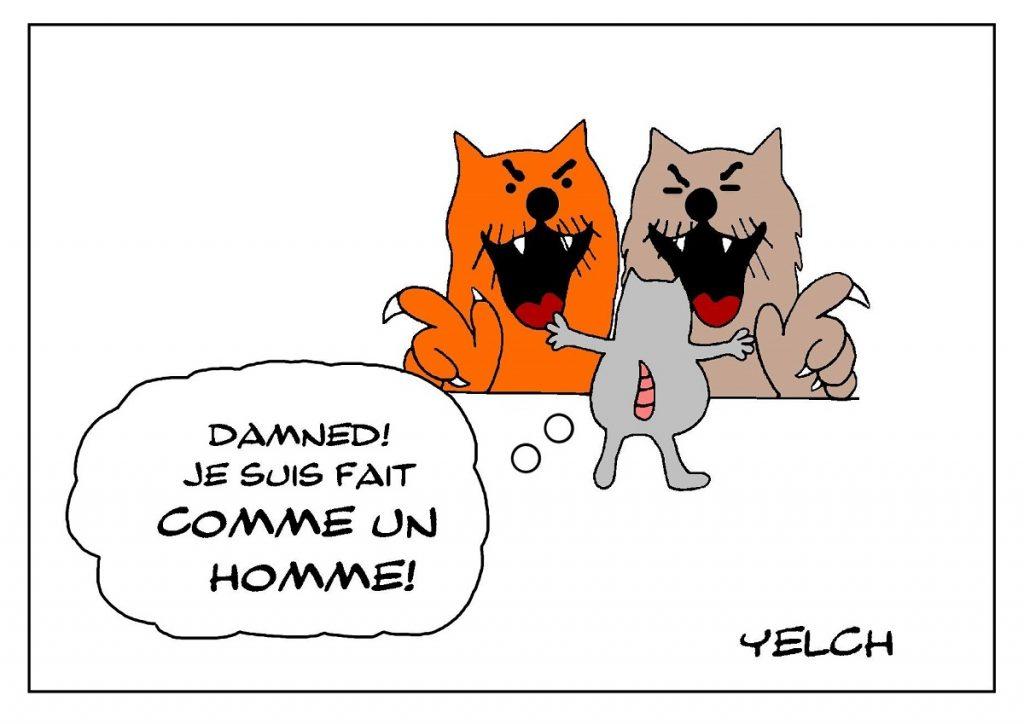 dessin de Yelch sur un rat fait comme un homme