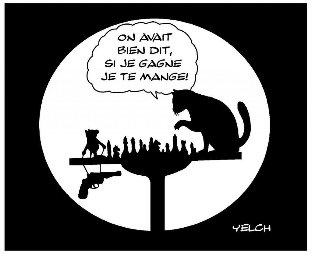dessin de Yelch sur un chat et un rat jouant aux échecs