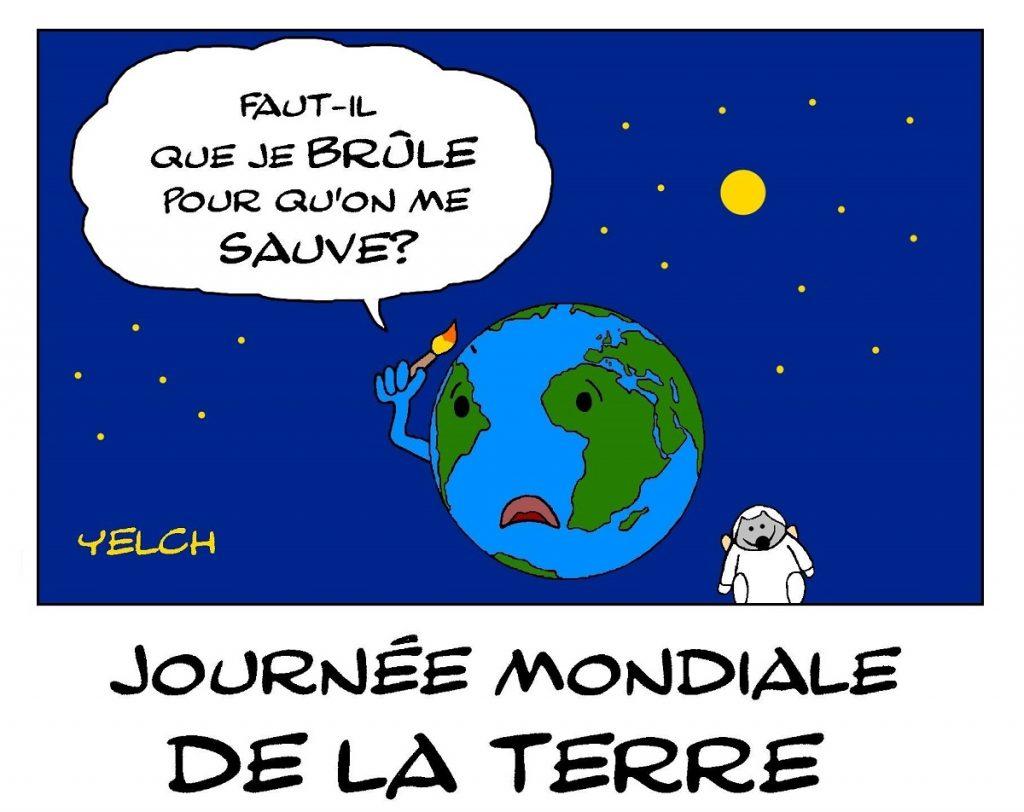 dessin de Yelch sur la journée mondiale de la Terre