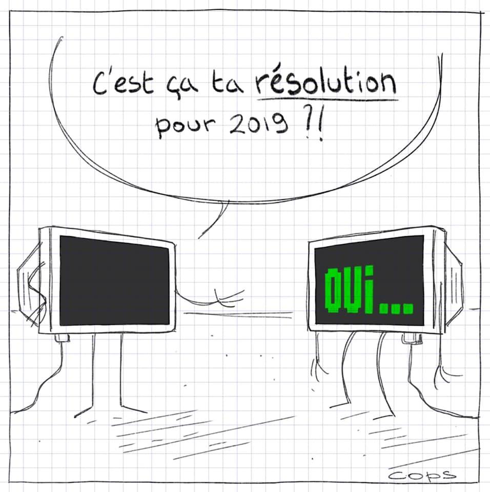 dessin de Cops sur les résolutions de nouvelle année et la résolution des écrans informatiques