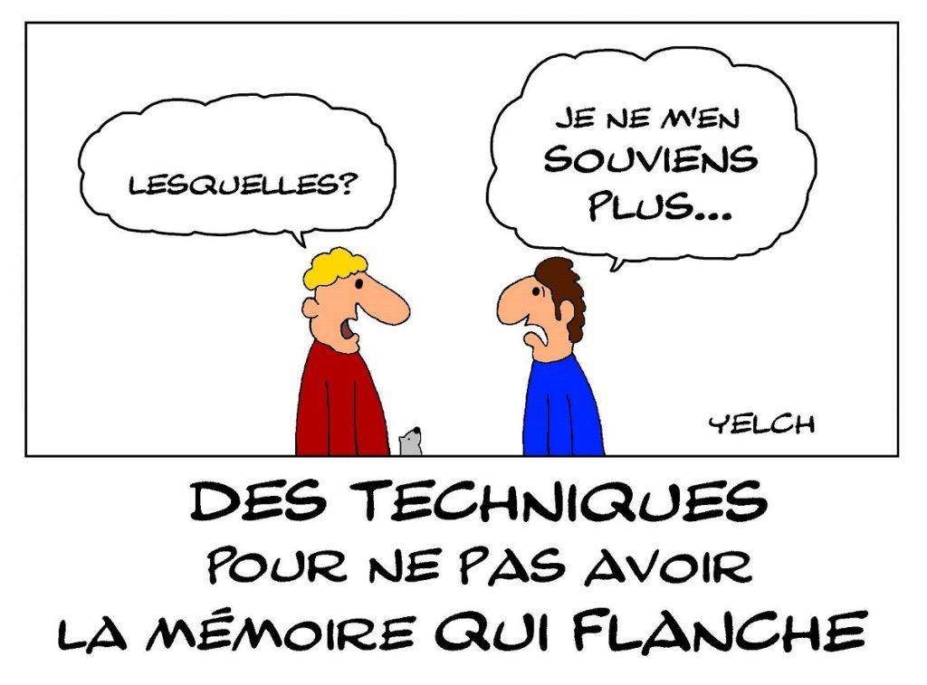 dessin de Yelch sur les techniques pour éviter les trous de mémoire