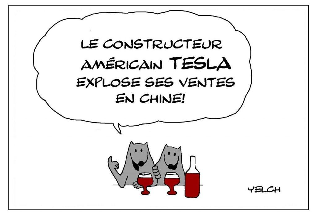 dessin de Yelch sur les ventes de Tesla en Chine
