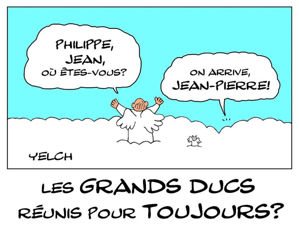 dessin de Yelch sur la mort de Jean-Pierre Marielle, dernier des Grands Ducs