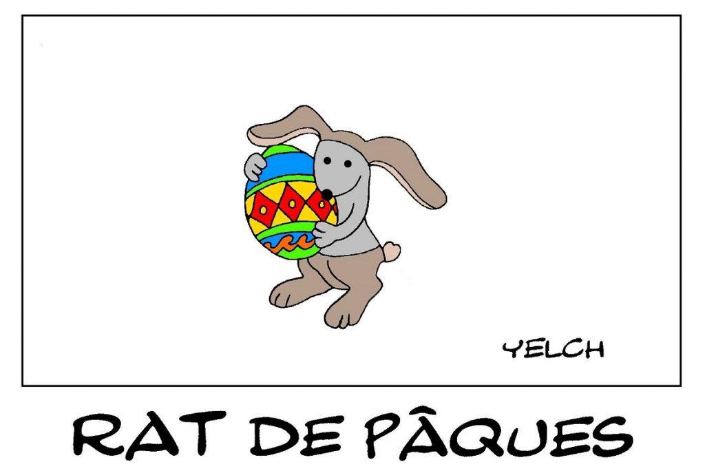 dessin de Yelch sur les fêtes de Pâques et le lapin de Pâques