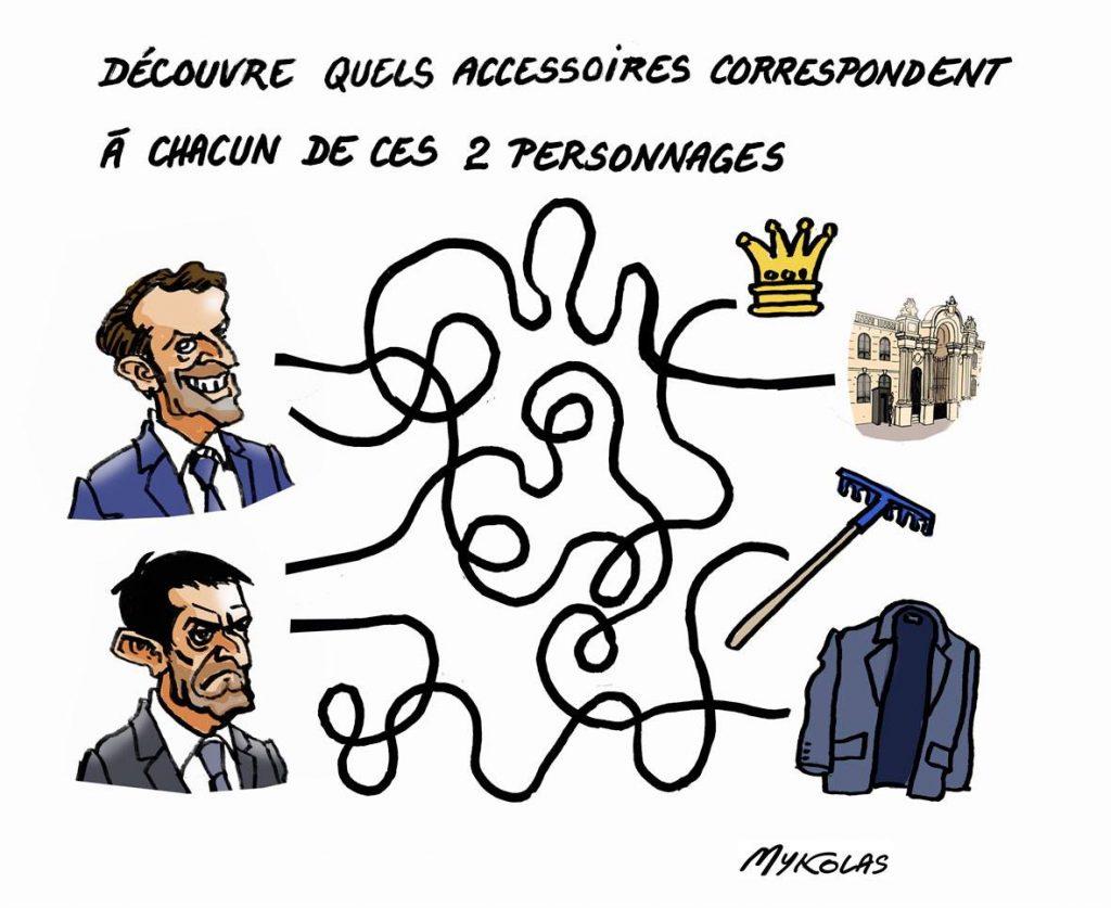 dessin d'actualité humoristique sur Emmanuel Macron et les résultats des élections européennes, ainsi que Manuel Valls et le résultat des élections à Barcelone