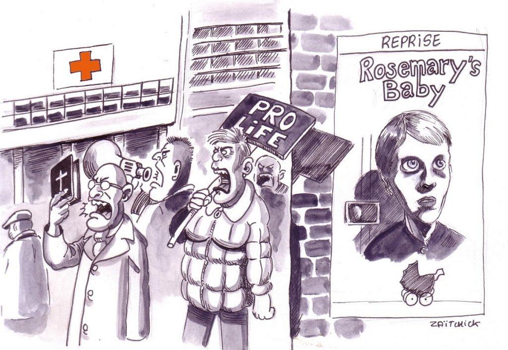 dessin d'actualité humoristique sur le droit à l'avortement